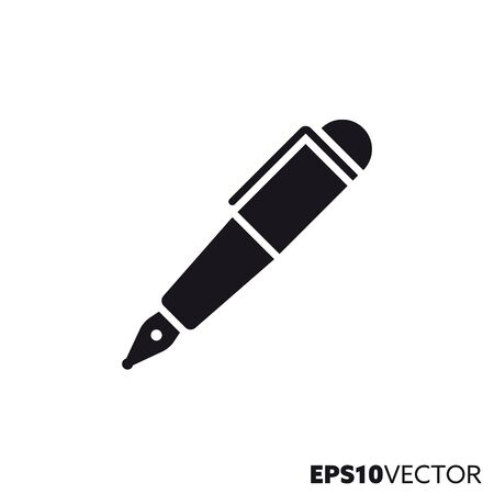 Fountain pen glyph icon. Symbol of writing instruments and business flat vector illustration. Foto de archivo - 130504283