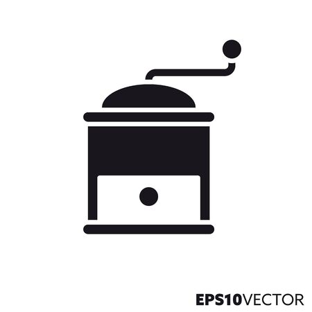 Coffee mill glyph icon. Symbol of kitchen utensil. Food and drink flat vector illustration. Foto de archivo - 130504286