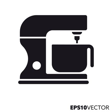 Kneading an stirring machine glyph icon. Symbol of kitchen appliance. Food and cooking related flat vector illustration.