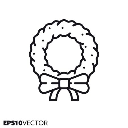 Christmas wreath with bow line icon. Outline symbol of Christmas holidays and festive decoration. Seasonal ornament flat vector illustration. Foto de archivo - 130504301