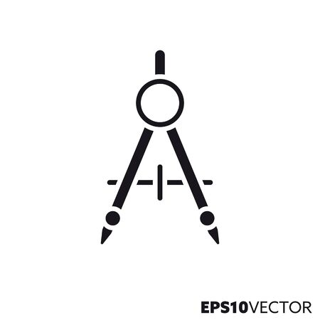 Compass glyph icon. Symbol of construction and engineering. Drawing equipment flat vector illustration.  イラスト・ベクター素材
