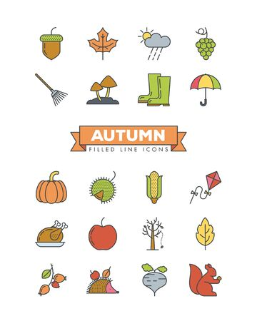 Autumn filled line icons set. Collection of fall related objects, plants and animals illustrations. Seasonal vector color symbols.