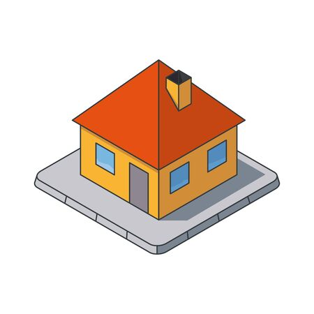 Small house isometric vector illustration, filled outline style. Private building symbol. Real estate and construction concept.