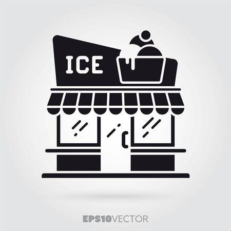 Ice cream parlour glyph icon. Cute little café symbol. Solid black Illustration