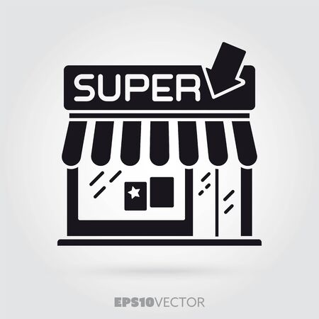 Icono de glifo de supermercado. Pequeño símbolo de tienda de minimarket lindo. Edificio de vector EPS 10 negro sólido. Ilustración de vector