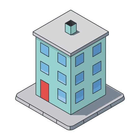 Tenement building isometric vector illustration, filled outline style. Private building symbol. Real estate and construction concept.