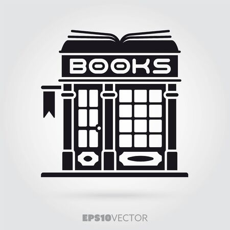 Bookstore glyph icon. Cute little fashion book store symbol. Solid black EPS 10 vector antiquarian shop building.  イラスト・ベクター素材
