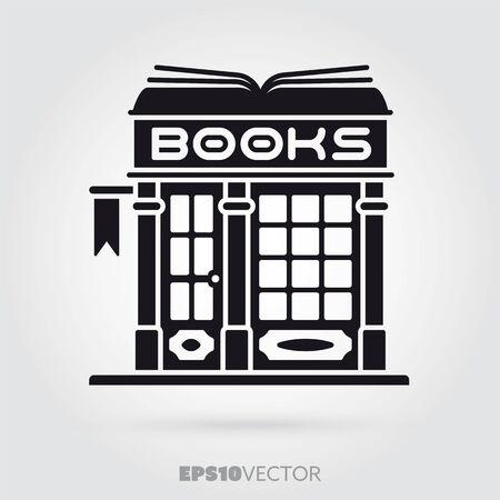 Bookstore glyph icon. Cute little fashion book store symbol. Solid black EPS 10 vector antiquarian shop building. Illustration