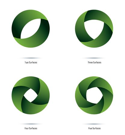 Circular green vector Design Elements with 2 to 5 surfaces and color shades. Easily editable with global color swatches.