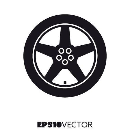 Icône noire solide de roue en alliage de voiture. Symbole de glyphe de la jante et du pneu. Illustration vectorielle plane de pièces automobiles. Vecteurs