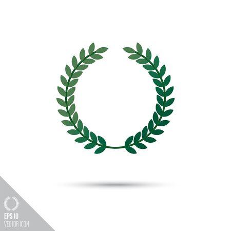 Smooth style laurel wreath icon. Sports award vector illustration.