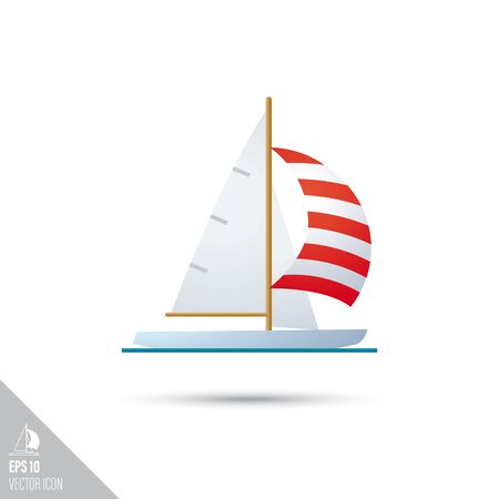 Smooth style sail boat icon. Water sports equipment vector illustration.