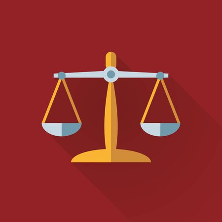 Scales of justice flat design long shadow icon. Law and legal business symbol vector illustration.