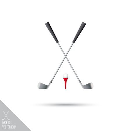 Smooth style crossed golf clubs, tee and ball icon. Sports equipment vector illustration.