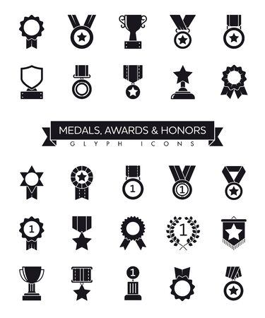 Collection of medals, awards, cups and honors solid black glyph icons vector illustration. Competition and success symbols.