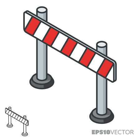 Road barrier isometric icon, outline and filled construction symbols. Safety concept vector illustration.