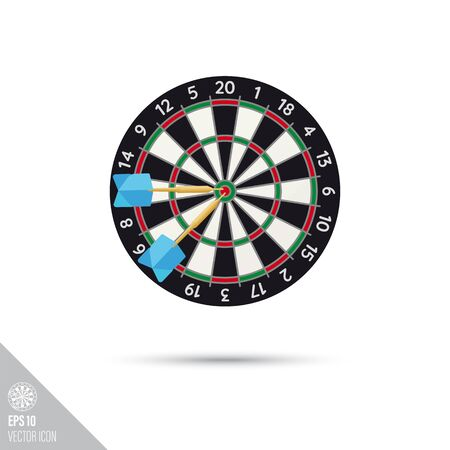 Smooth style dartboard with darts icon. Target sports equipment vector illustration. Vecteurs