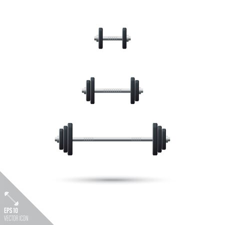 Smooth style set of weightlifting barbells and dumbbells icons. Sports equipment vector illustration. Ilustrace