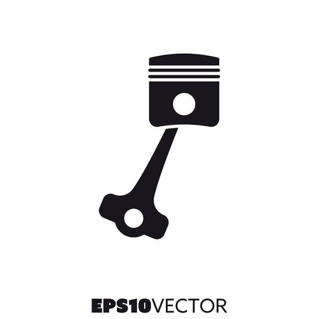 Piston solid black icon. Glyph symbol of car parts and engine. Automotive flat vector illustration.