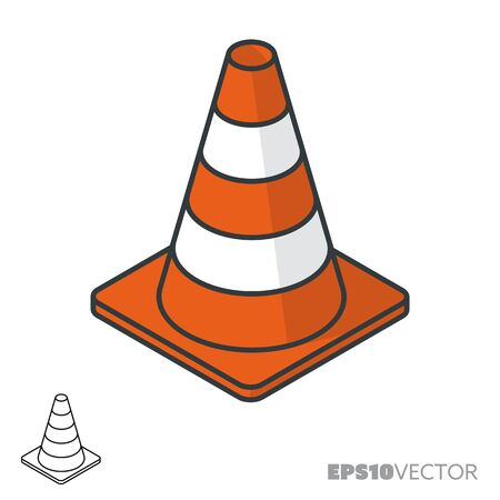 Road cone isometric icon, outline and filled construction symbols. Safety concept vector illustration. Illustration