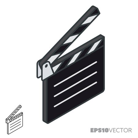Clapperboard isometric icon, outline and filled movie symbols. Cinema and entertainment concept vector illustration. Vettoriali