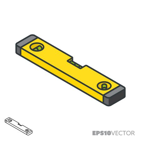 Spirit level isometric icon, outline and filled construction symbols. Precision concept vector illustration. Stock Illustratie
