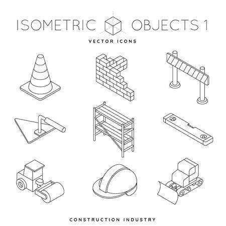 Collection of isometric outline icons of construction equipment and tools like steam roller, hard hat, traffic cone and scaffolding. Construction industry concept vector illustration