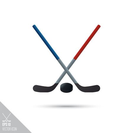 Smooth style crossed ice hockey sticks and puck icon. Sports equipment vector illustration.