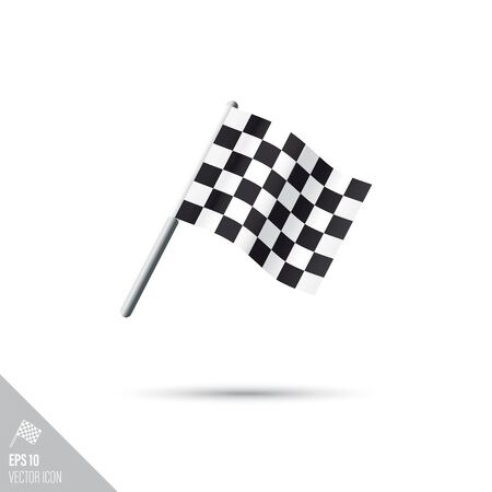 Smooth style racing finish flag icon. Motor sports equipment vector illustration.