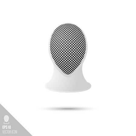 Smooth style fencing mask icon. Combat sports equipment vector illustration.