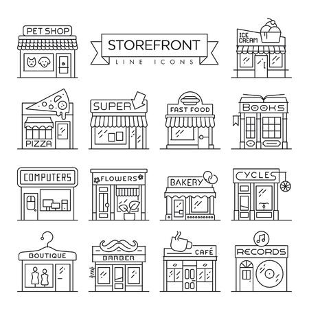 Set of 14 storefronts like bakery, flower shop, boutique and book store thin line icons. Commerce and trade concept vector illustration