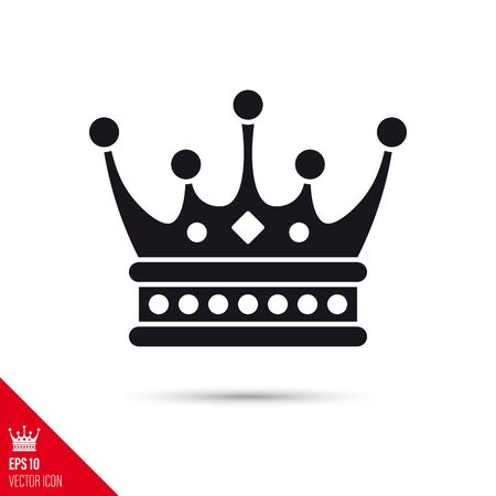 Crown glyph icon. Success, power and reign symbol vector illustration. Çizim