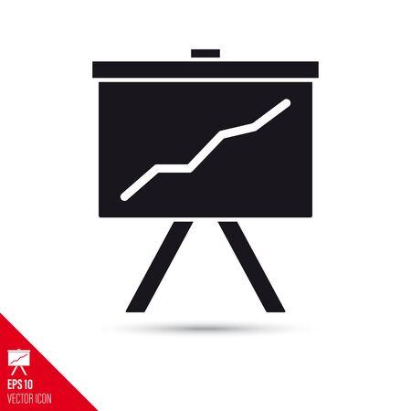 Upward graph on presentation whiteboard glyph icon. Success symbol vector illustration.