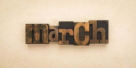 March, name of the month written with vintage letterpress printing blocks on textured background . Banner format.