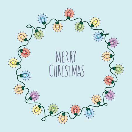 Merry christmas square vector illustration with round christmas lights garland around text on light blue background Ilustrace