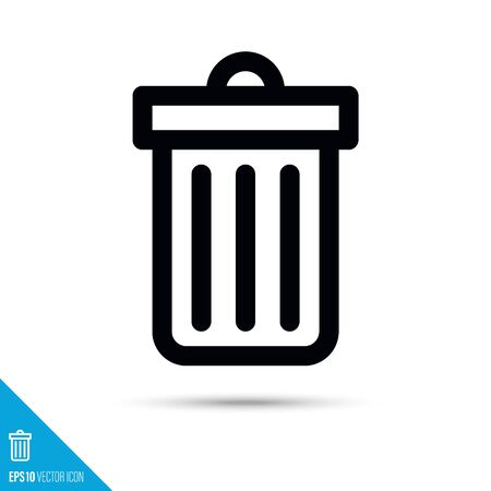 Trash can line icon. Garbage bin vector symbol. User interface pictogram for web and apps.