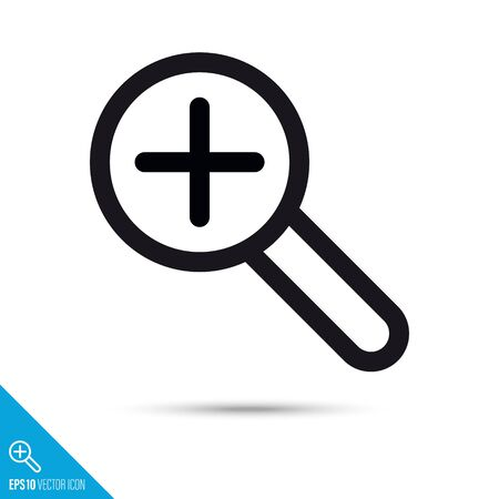 Magnifying glass with plus symbol line icon. Magnification vector. User interface pictogram for web and apps.