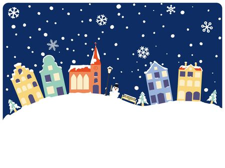 Winter and Seasons greetings with cute village. Vector Illustration of townhouses and church on snowcovered hills copy space below