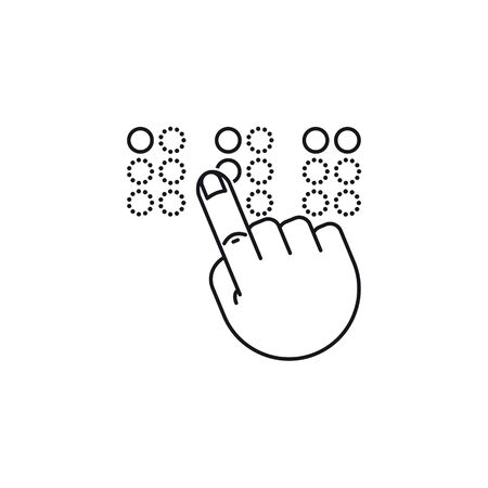 Braille reading icon. Outline vector symbol of hand touching braille alphabet letters ABC.  Çizim