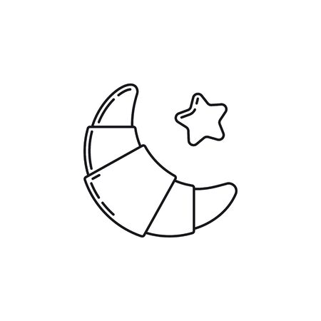 Croissant and star-shaped butter outline  vector icon. French pastry symbol.