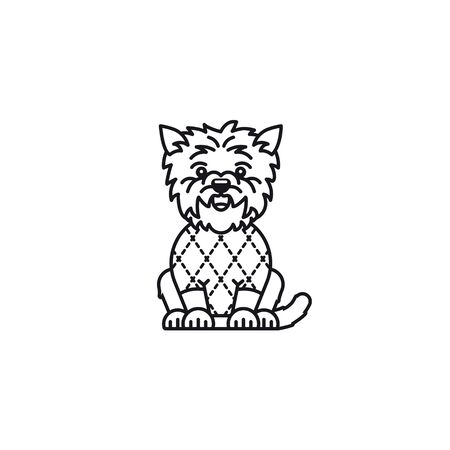 West Highland White Terrier with Argyle pattern on sweater vector icon. Cartoon symbol of scottish tradition. Illustration