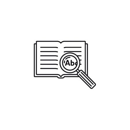 Thesaurus or encyclopedia with magnifying glass vector outline icon. Knowledge, learning and education symbol.