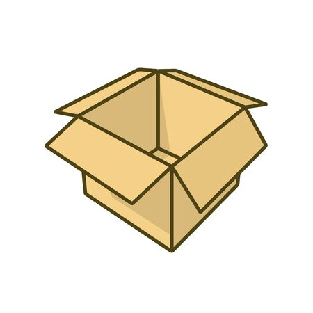 Empty cardboard box illustration for Nothing Day on January 16. Emptiness isolated color vector symbol.