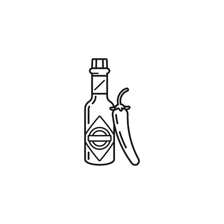 Hot Sauce bottle and chili pepper vector line icon. Food illustration. Çizim
