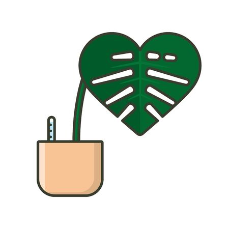 Potted Monstera plant with heart-shaped leaf vector illustration for Houseplant Appreciation Day on January 10. Isolated hydroculture color symbol.