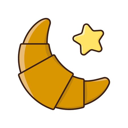 Croissant and butter vector illustration for #CroissantDay on January 30. French pastry isolated color vector symbol.