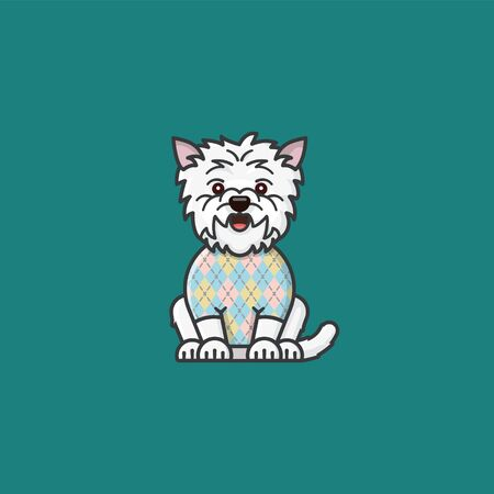 Cute West Highland White Terrier character wearing Argyle pattern on sweater color illustration. Purebred dogs and of traditional scottish clothing symbol. Illustration