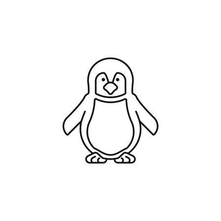 Baby penguin vector line icon. Endangered species symbol.