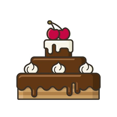 Chocolate cake with cream and cherries on top illustration for #ChocolateDay on January 27. Sweet food isolated color symbol.
