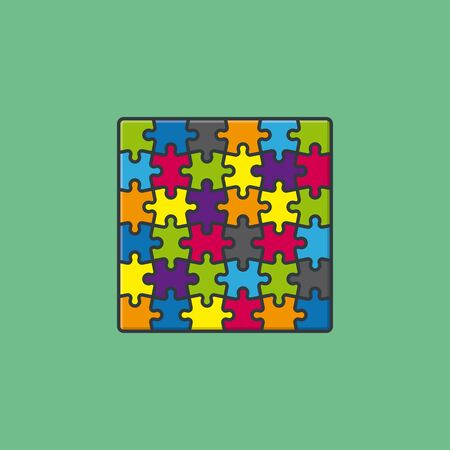 Jigsaw puzzle vector illustration for Puzzle Day on January 29. Colorful game symbol.